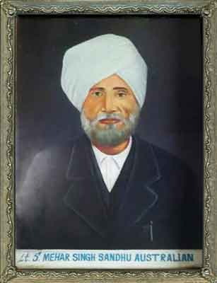 Lt. Mehar Singh Sandhu Australian.  Known As Meyer Singh.  This Painting Done From Old Photograph Proudly Hangs On The Wall Of The Sandhu Family Home In India. Photograph: Sandhu Family, India.