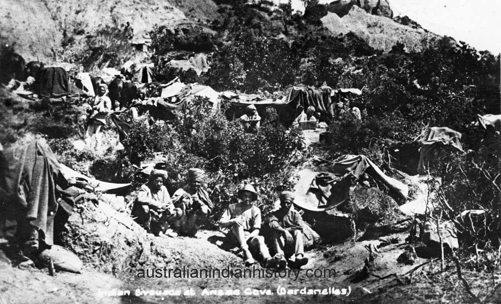 Indian Bivouacs At Anzac Cove WW1.  From The Crystal Jordan Collection.