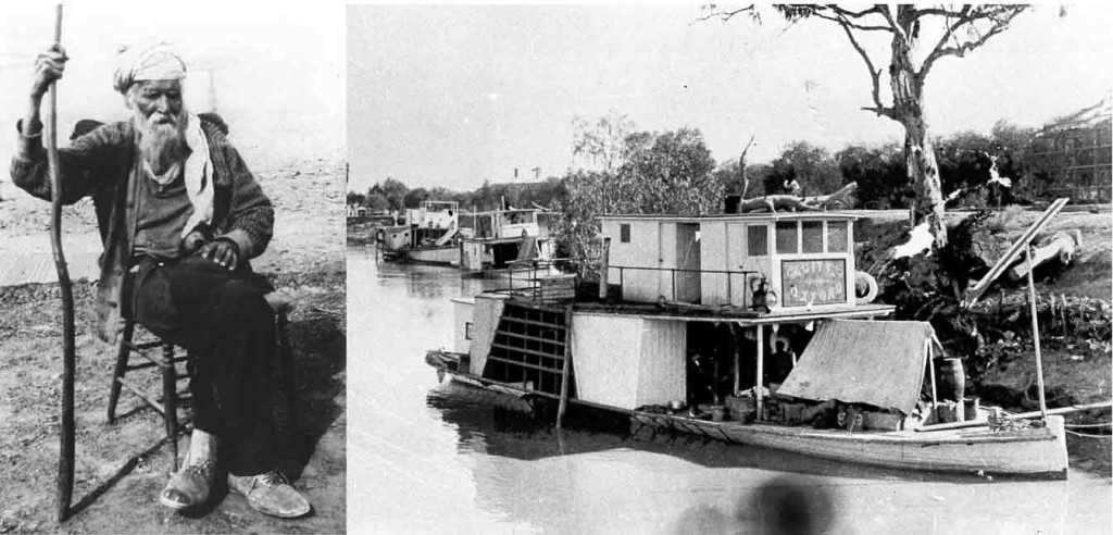 Left: City of Oxford Paddle Steamer. Courtesy of State Library of SA. Right: Rhoda Singh, he was reported to be 105-110 years of age when this photo was taken in the 1930's. From the collection of Claire Mincham & C. Stevens Tin Mosques & Ghan Towns.