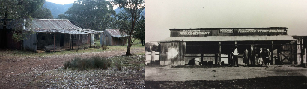 Left; Bud Singh's Store Yerranderrie, NSW 1976 Photo: Crystal Jordan. Right: Bud Singh's Store courtesy of Wollondilly Heritage Centre NSW.