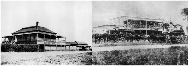 Left; The Grand View Hotel Cleveland. Right, the Royal Mail Hotel, Tingalpa ca. 1883, with a passenger coach similar to what Pooran and his father Dabee would have owned.