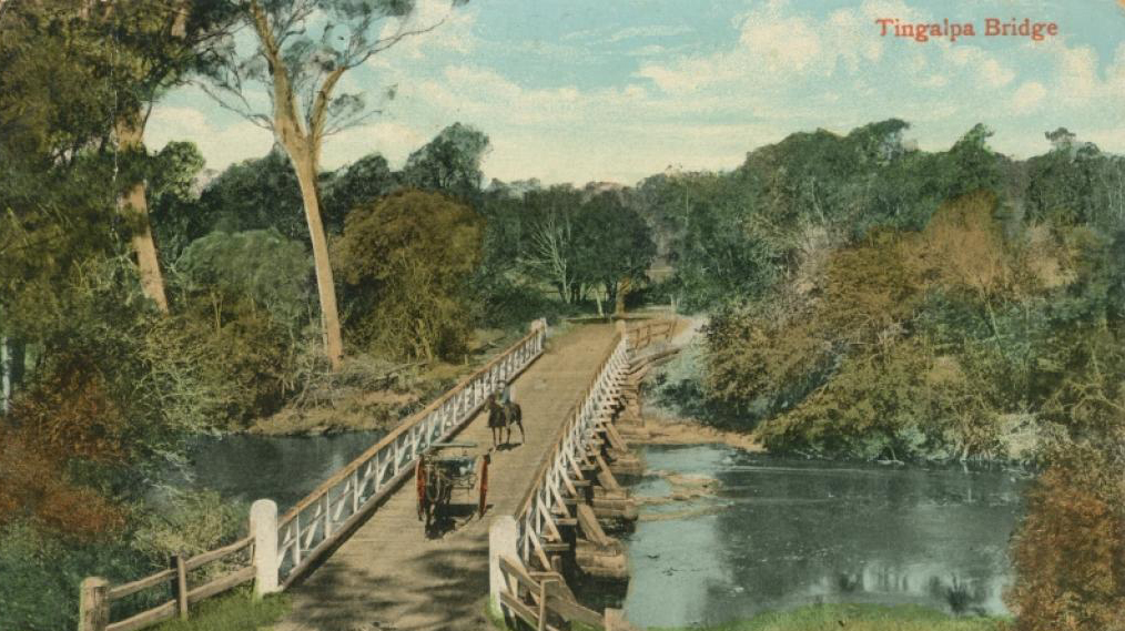 Pooran Dabee-Singh wound have crossed this bridge most of his life. Tingalpa Creek Bridge, Tingalpa, Qld. ca 1910. Old Postcard.