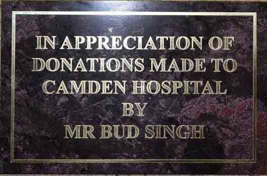 Plaque For Bud Singh At Camden Hospitall NSW.  Photo: Crystal Jordan
