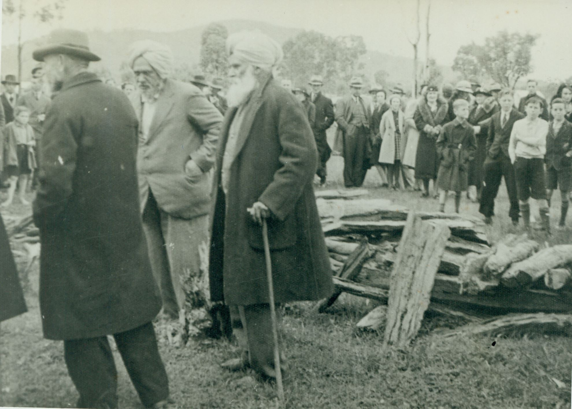 Rule Singh's Cremation On 25 June 1939 At Albury,  Indian Cemetery, NSW, Now Jelbart Park. The Two Men Pictured Are; Left: Purtab Singh And Right: Currum Singh Who Organised The Cremation.  Currum Singh Read The Ceremony.  Photo: R. J. Fielder Courtesy Of Albury Museum NSW.