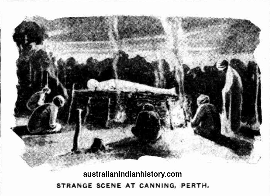 Artist's Impression Of The Cremation Of Budna Singh At Canning 1929. Courtesy Of The West Australian WA.