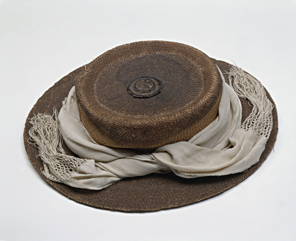Cabbage Tree Hat With Silk Puggaree Ca1860. Courtesy SLV