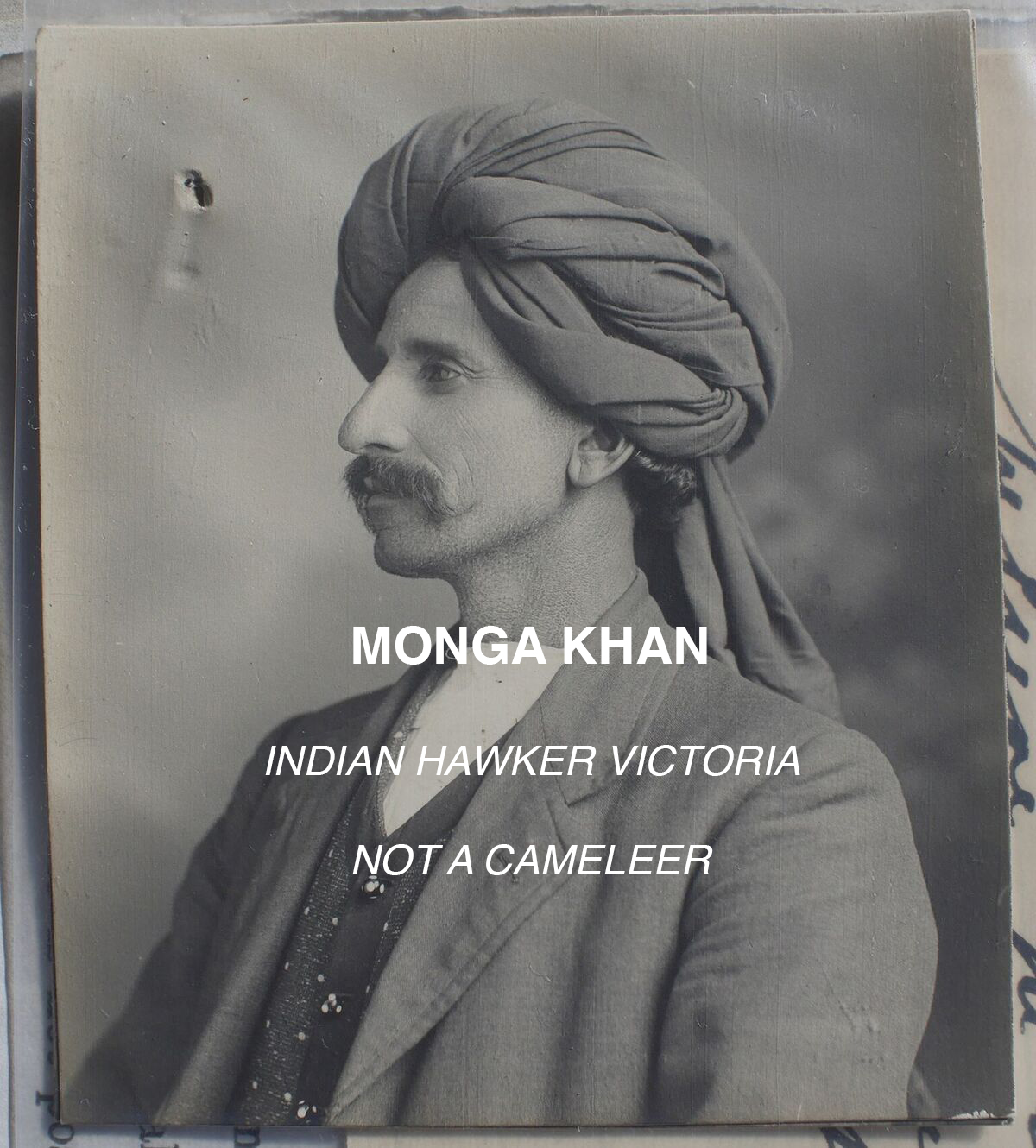 Photo Of Monga Khan Taken When He Applied For An Exemption To The Dictation Test In 1916.  Courtesy NAA
