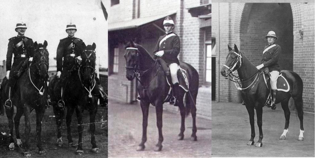 1. Left: Mounted Police Brisbane ca. 1912. Courtesy Police Museum Qld. 2. Mounted Police Constable at Wagga Wagga NSW 1915. 3. Mounted Policeman, NSW.