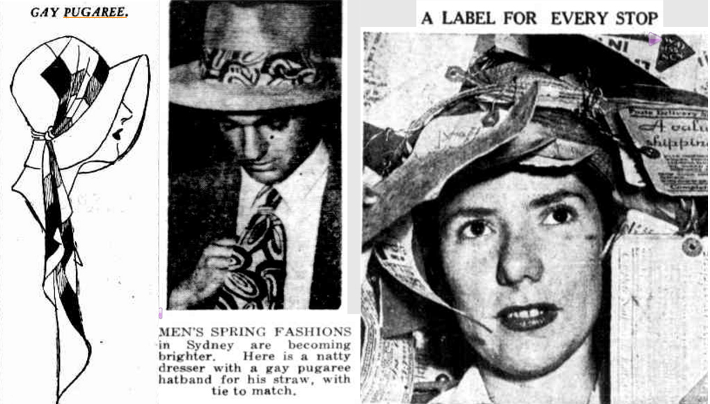 "1. Fashion hat with Puggaree. 2. Men's Fashion Matching Tie and Puggaree. 3. Hostess Audrey Kitching wearing the ""Hand Me On"" hat with Puggaree 1949."
