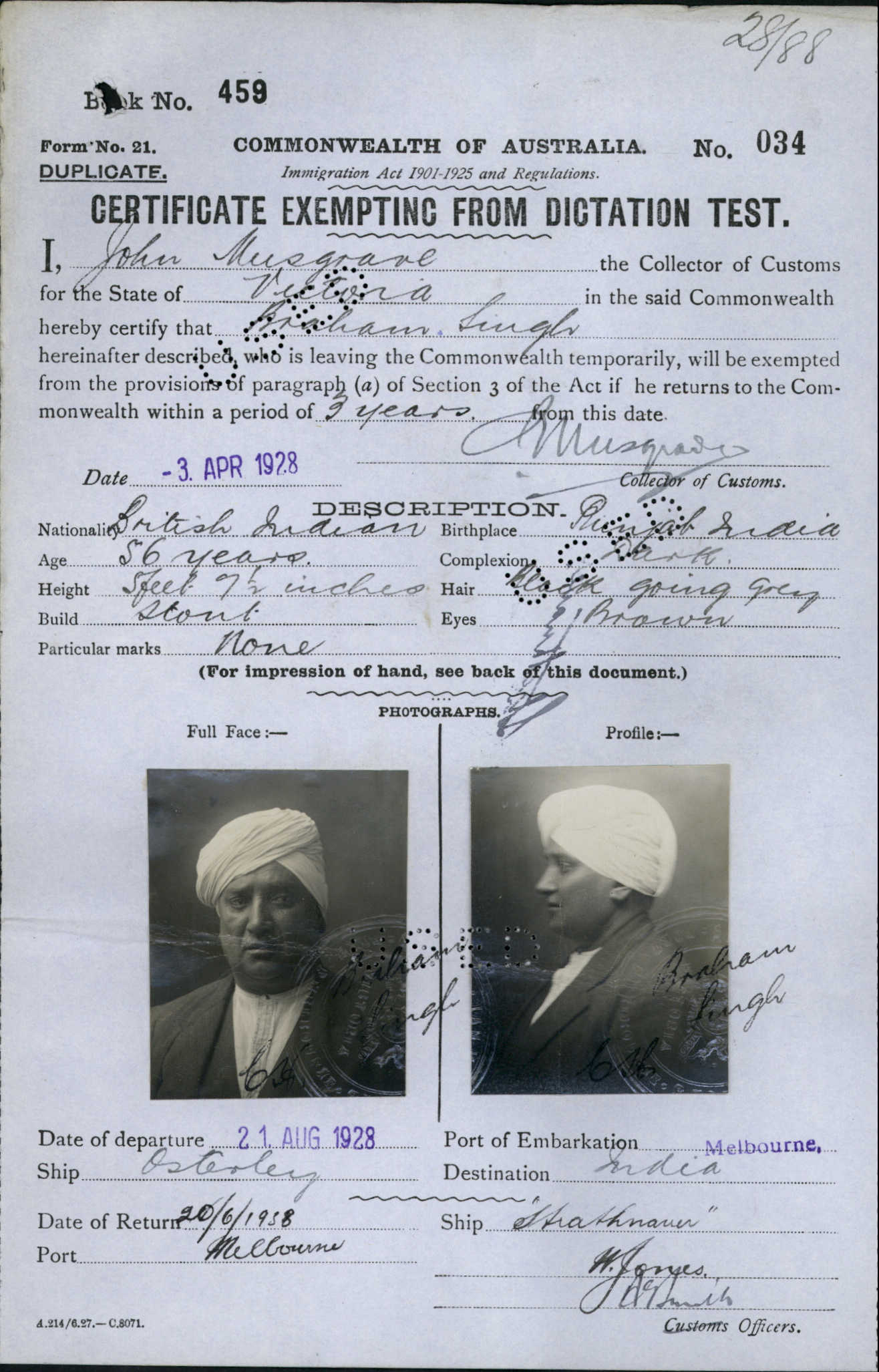 Braham Singh CEDT 1928 Courtesy Of NAA