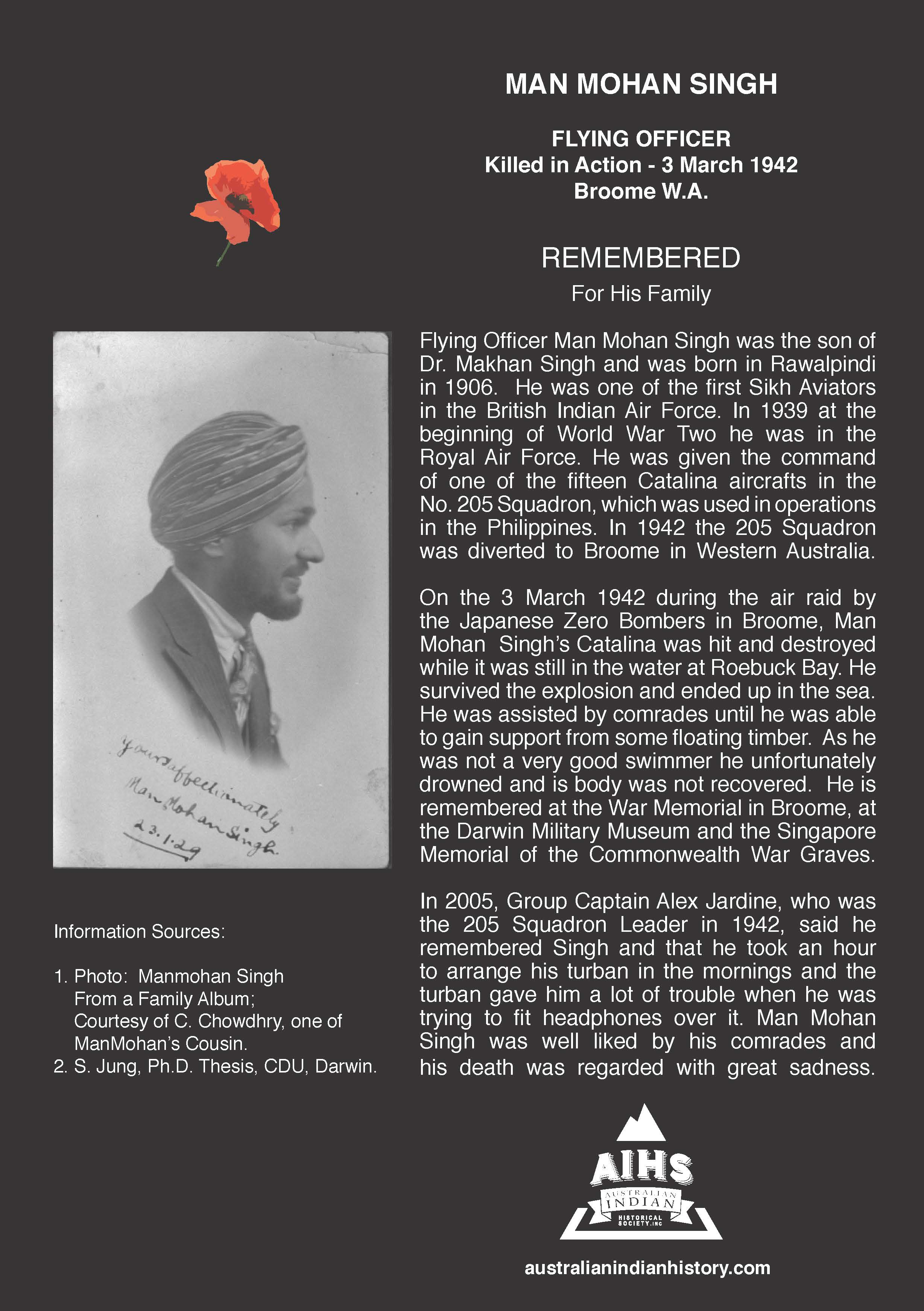 FLYING OFFICER MANMOHAN SINGH WWII – 1942